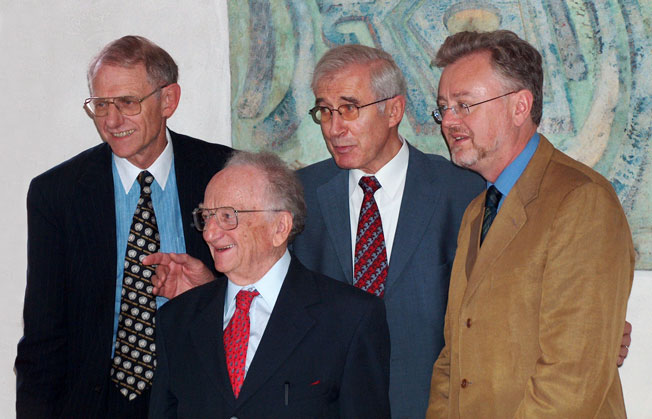 Roger Clark, Benjamin Ferencz, Otto Triffterer and William Schabas at SLS 2005